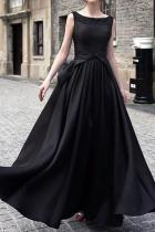 Round Neck Bowknot Plain Evening Dress