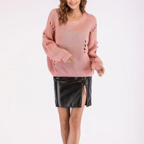 New Fashion Solid Color Cutout Slim Sweaters