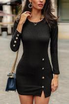 Fashion Pure Colour Button Slit Round Neck Mini Dresses