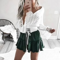 Sexy White Long Sleeves T-Shirt Blouses