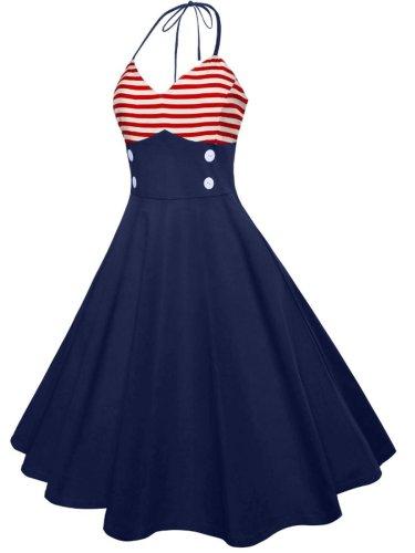 Lace-Up Color Block Striped Vintage Dresses