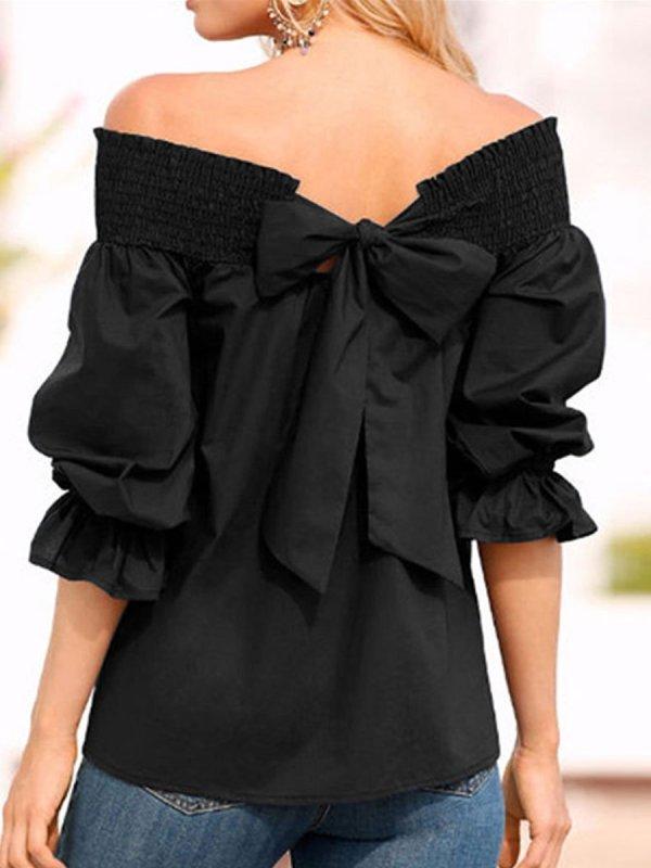 Women Open Shoulder Bowknot Plain Blouses