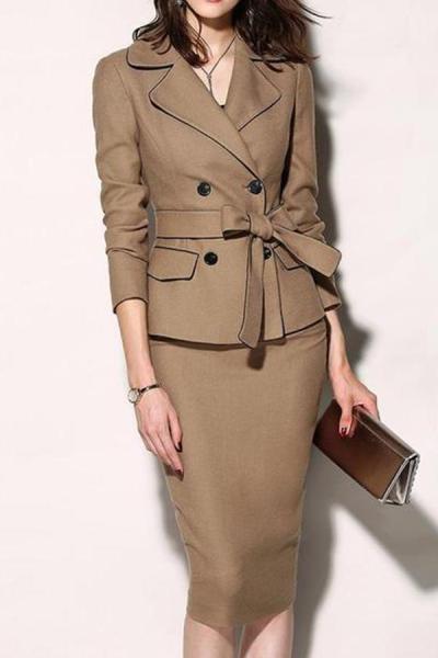 Fold-Over Collar  Plain Bodycon Dress