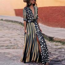 Fashionable V-Neck Striped Polka Dot Vacation Dress