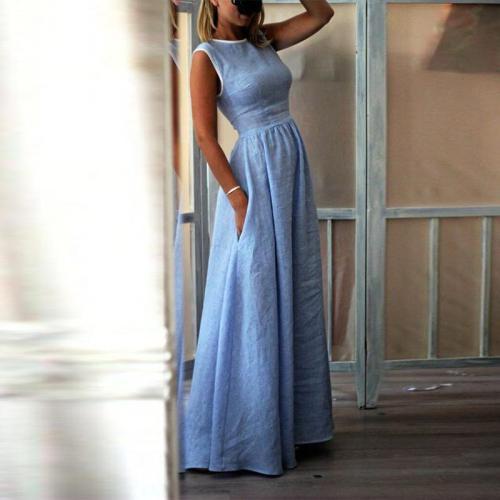 Elegant High-Waisted Pocket Holiday Maxi Dress