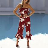 Off Shoulder  Flounce  Bust Darts  Floral Printed  Sleeveless Jumpsuits