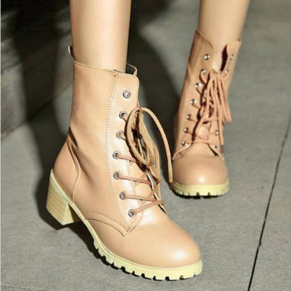 Plain Chunky Mid Heeled Criss Cross Round Toe Casual Date Outdoor High Heels Boots