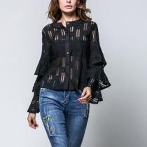 Lace Long Flare Sleeve Button Down Blouses