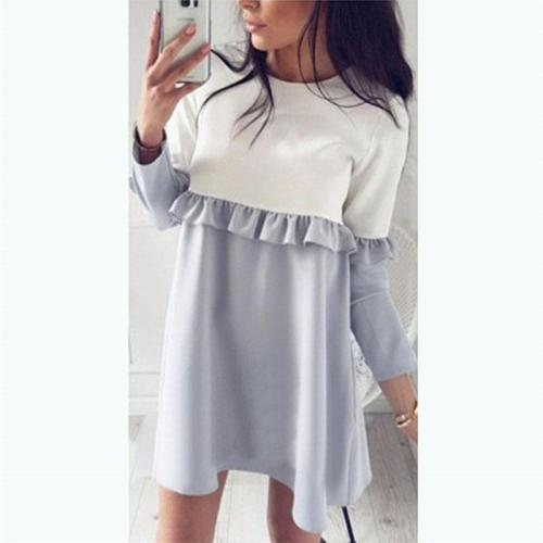 Round Neck Ruffles Patchwork Long Sleeve Casual Dress