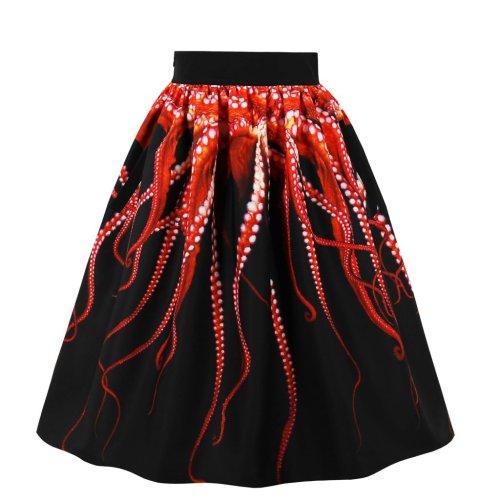 Vintage Flare Pleated Skirt High Waist A-Line Midi Dress
