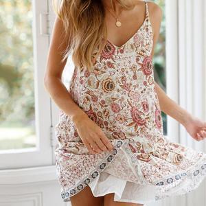 Women's Bohemian Printed Leisure Holiday Garment Casual Dress