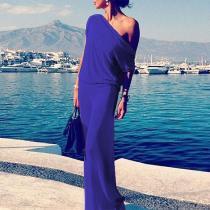 One Shoulder  Plain Maxi Dresses