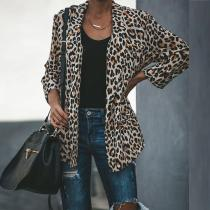 Leopard Printed Lapel Long Sleeve Fashion Blazers