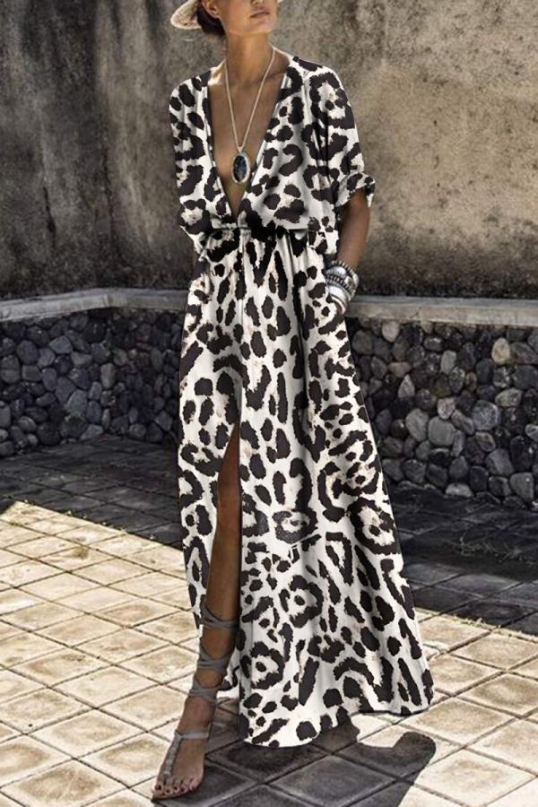 Sexy Deep V Collar Leopard Printed Maxi Dress