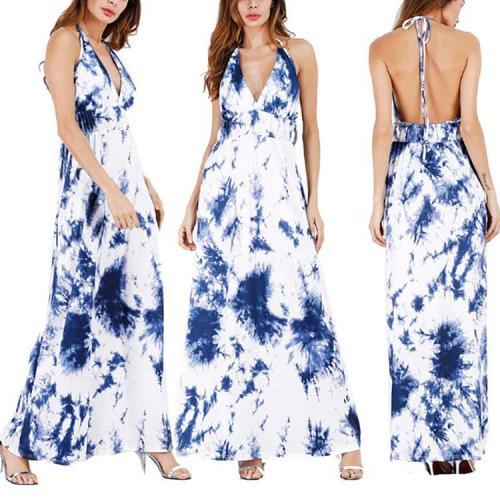 Sexy V Collar Halter Printing Vacation Dress