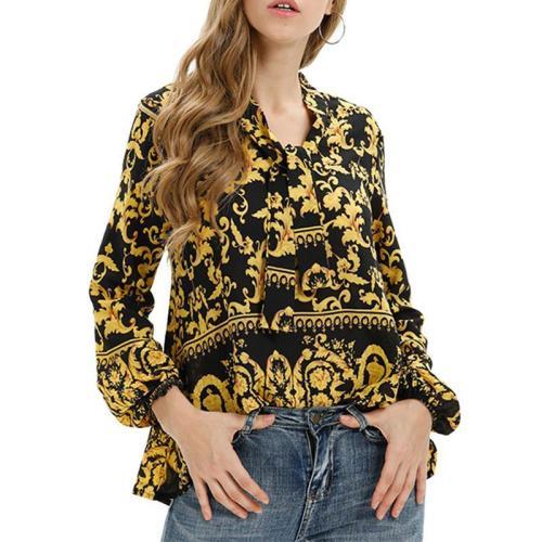 Printed Long Sleeve Elegant Blouses