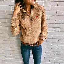 Band Collar  Zipper  Plain Sweatshirts