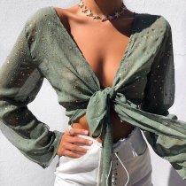 Stylish Green Long Sleeves T-Shirt Blouses