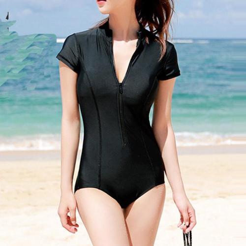 Short Sleeved Gather Zipper Swimsuit