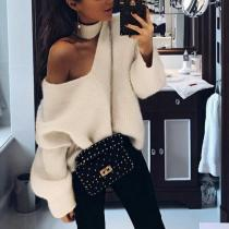 Sexy Fashion Casual Loose Plain Off Shoulder Halter Long Sleeve Sweaters