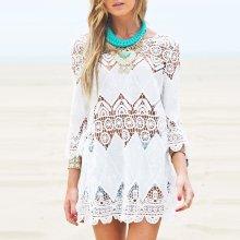 Hollow Flower Embroidered Beach Bikini Blouse