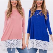 Lace Stitching Casual T-Shirt