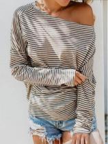 Fashion striped sloping shoulder loose T-shirt