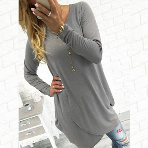 Solid Color Long Sleeve Cross T-Shirts