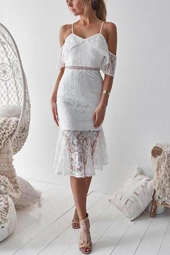Casual Sexy Lace   Falbala Sling Midi Dresses