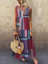 Bohemian Splicing Round Neck Sleeveless Maxi Dresses