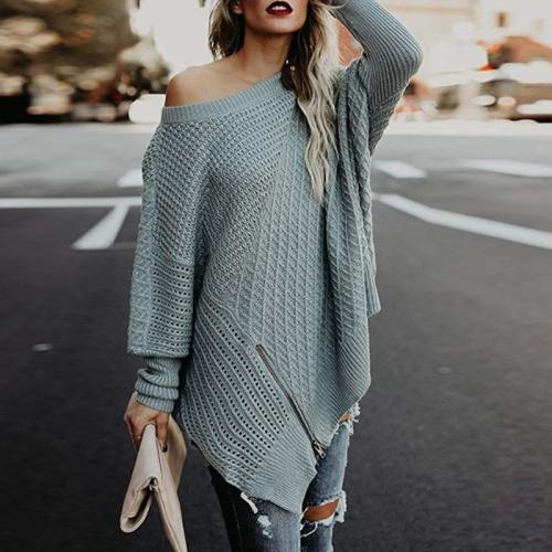 Round Neck Long Sleeve Asymmetrical Hem Zipper Sweaters