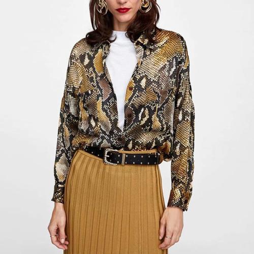 Fashion Loose Snake Printed Long Sleeve Blouses