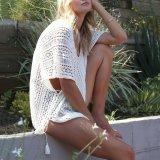 V-Neck Asymmetrical Side Slit Bikini Smock