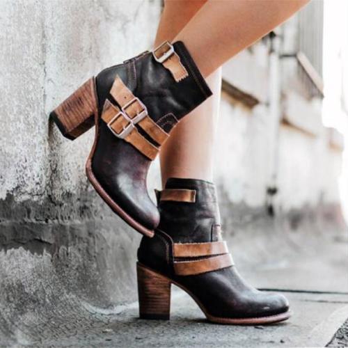 Fashion Coarse Heel Split Joint Short Boots