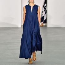 V Collar With Sleeveless And Minimalism Maxi Dress