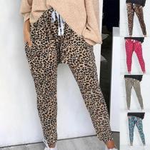 Fashion Loose Printed Elastic Waist Lace Up Pants