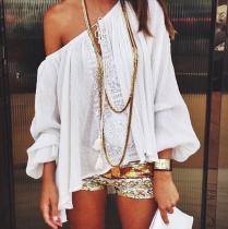 Fashion Casual Vacation Loose Plain Puff Long Sleeve Blouse