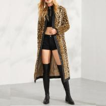 Fashion Trend Casual Tie With Leopard Print Printed Tiling Pu Leather Long Coat