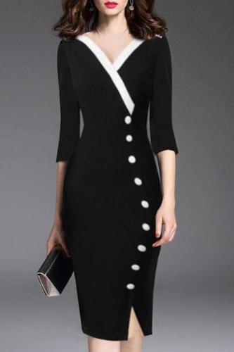 Deep V-Neck  Decorative Button  Plain Bodycon Dress