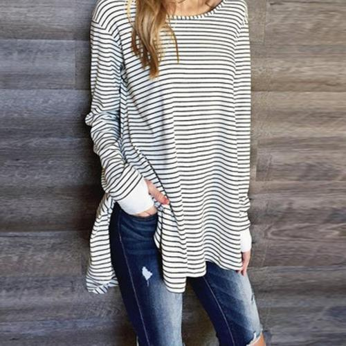 Round Neck Long Sleeve Stripes Causal T-Shirts