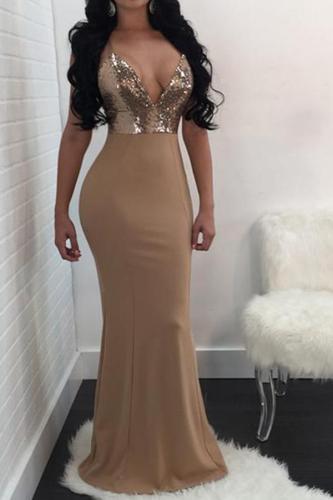 Sexy Deep V High-Waist Splicing Sleeveless Evening Dress