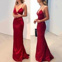 Sexy Red Plain Sleeveless Evening Dress