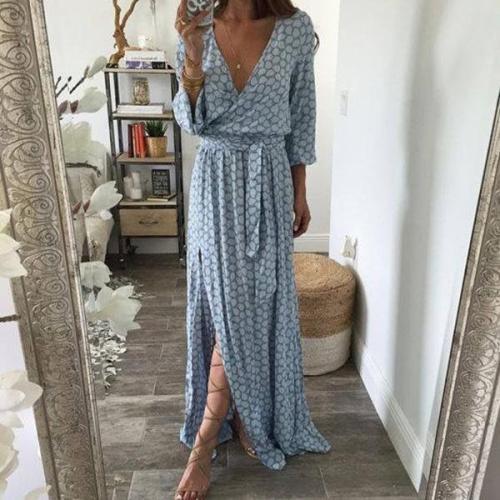 V-Neck  Plain Maxi Dresses