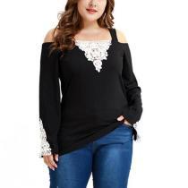 Lace Shoulder Strap Stitching Long Sleeve Large Size T-Shirt