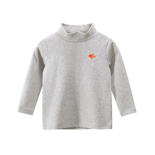 Cotton Embroidered Tops Baby Boys Turtleneck Long Sleeve T-shirt