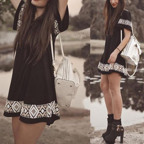 Fashion Printed Short Sleeve Casual Dress