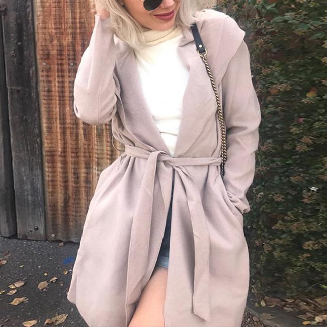 Hooded Long Sleeve Plain Belt Casual Trench Coat