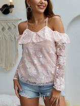 Casual Sexy V Neck Off   The Shoulder Lace Sling Blouse