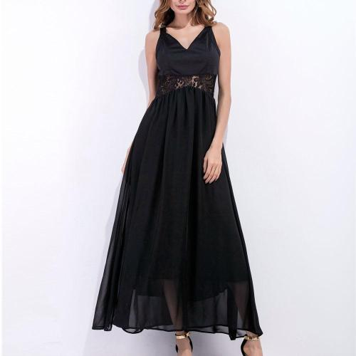 New Strap V-Neck Splicing Maxi Dress