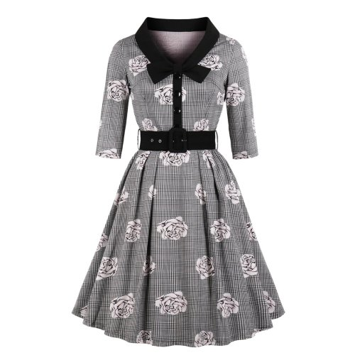 Plus Size Casual Belt Skater Dress